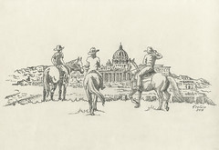 holy journey (Krugio) Tags: horse pope rome art pen ink landscape graphic drawing traditional vaticano journey knight krugio