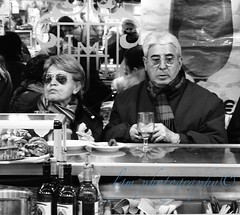 Unhappy Lunch (Halcon122) Tags: madrid street sunglasses restaurant spain couple afternoon candid streetphotography rush older argument
