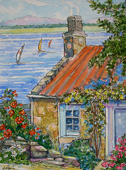 Roses by the Sea (cottagelover1953) Tags: ocean flowers roof red roses vintage seaside cottage inspired retro sailboats seashore