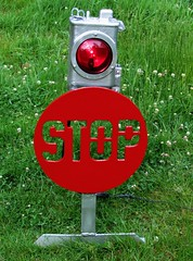 Railroad stop sign signal. for crossing at grade protection.  a finished restoration, actually like the job i did on this ..it does have the necessary  BOING effect. (brian.m.rule241) Tags: park railroad lamp sign electric shop switch iron brighton industrial ebay time d antique union style railway hobby diamond made stop restoration bo past signal acl semaphore interlocking maintainer