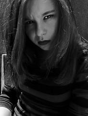 Gaze of tiger (ElenaPardo) Tags: portrait people blackandwhite bw selfportrait blancoynegro blanco self project y retrato negro autorretrato pensamiento proyecto rabia pensativa descaro expresive expresividad elenapardo