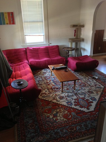 Adem's colorful and comfy living room
