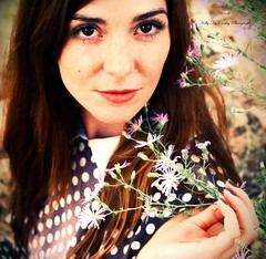 Nature's Only Daughter (Kelly McCarthy Photography) Tags: flowers woman beautiful beauty fashion female outdoors spring pretty dress purple bokeh polkadots