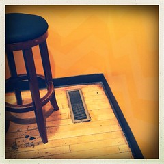 (Joie de Vivre) Tags: wood yellow corner vent stool striped iphone hipstamatic originalfilter