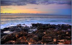 Sunrise and some rocks (tdlucas5000) Tags: ocean blue water rain clouds sunrise long exposure pools kauai grandhyatt hdr