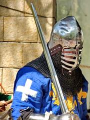 Knight (markb120) Tags: jerusalem helmet weapon sword knight recreation blade crusader middleages jousting visor longsword bodyarmour platearmour personalarmor