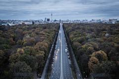 Berlin (dawolf-) Tags: road street blue autumn berlin cars colors skyline clouds canon cityscape dusk 5d mitte tiergarten siegessäule muted thirds