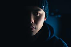 Pitch Black (seango) Tags: lighting winter portrait selfportrait toronto ontario canada black cold me face self dark asian effects 50mm hoodie scary nikon bokeh f14 sigma nike toque northface beanie selfie sidelight d600 i