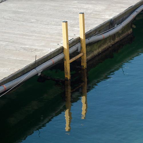 water yellow quay ladder