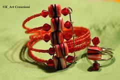 bracciale e anello_molla armonica e perline plastica e vetro