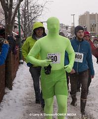 Green Hornet - Running of the Reindeer - Anchorage, AK (Bower Media) Tags: alaska race reindeer event anchorage happyface greenman iditarod greenhornet reindeerrun runningofthereindeer larrydonoso bowermedia larryadonoso photolarryadonoso