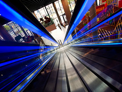 Va va voom! (martinturner) Tags: blue england architecture birmingham angle vibrant library escalator down retro hightech citycentre goingdown whoosh punchy leadinglines martinturner libraryofbirmingham
