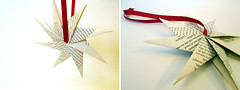Origami Christmas Ornaments (redcirclecrafts) Tags: red white origami handmade craft modular howto folding eightpointedstar bookpages octohedron