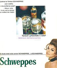 """Schweppes. """"¿Mezclada o sola Actriz"""". 1970"""