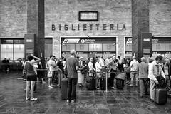 Stazione di Firenze (carlo tardani) Tags: blackandwhite bw bianconero biancoenero biglietteria santamarianovella blackwhitephotos viaggiatori stazionedifirenze viaggiointreno nikond3 mygearandme mygearandmepremium mygearandmebronze mygearandmesilver mygearandmegold flickrstruereflection1 flickrsfinestimages1 appuntidiunviaggiointreno infinitexposure