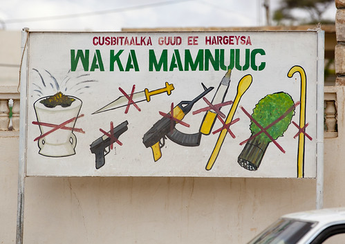 A Prohibition Sign Against Khat And Weapons, Hargeisa, Somaliland