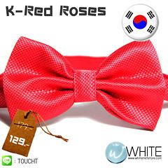 K-Red Roses - หูกระต่าย สีกุหลาบแดง ผ้าเนื้อลาย สไตล์เกาหลี