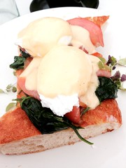 Eggs Benedict with Salmon (Damana) Tags: food green breakfast toast egg salmon eggs canberra panini spinach benedict belconnen