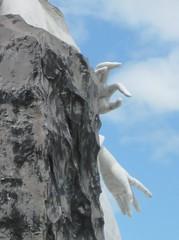 Cemetary angel - Antigua, Guatemala (ashabot) Tags: blue sculpture cemeteries latinamerica mesoamerica guatemala angels mementomori blueskies centralamerica centroamerica cemeteryangel