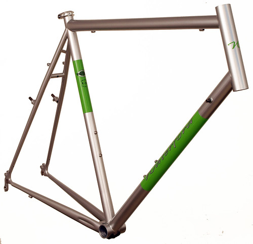 <p>Front view of Waterford 14-Series Cross Bike in Sterling Silver with WIllow Green Panels.  This custom design includes several handy features, including stainless dropouts, cable adjusting cantilever brake arch, rack mounts and, at the customer's request, double eyelets.</p>