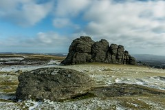 Little & Large (Robgreen13) Tags: winter sky snow cold ice clouds canon landscape eos countryside rocks colours view cloudy freezing devon granite moor dartmoor isolated moorland haytor 650d iplymouth
