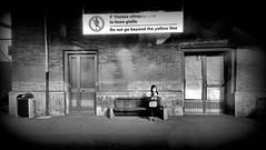 WhatsApp (migliosa) Tags: bw girl station mobile bench waiting phone gare cellulare stazione biancoenero ragazza attesa panchina sangiovannivaldarno sangiovannivno seebw stazionedisangiovannivno