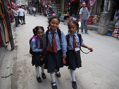 3 schoolgirls walking thru Thamel in Kathmandu, Nepal!