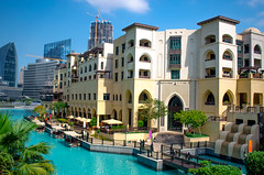 Souk Al Bahar. Downtown, Dubai. February 7, 2015. 11am. (inspiredbydubai) Tags: city beautiful buildings design photo downtown dubai cityscape oldstyle uae bluesky best emirates oldcity dxb townarchitecture burjkhalifa mydubai