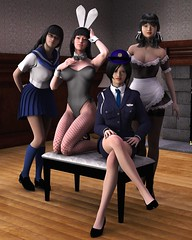 Dream Team 02 (Jotaerre3D) Tags: female asian cosplay indoors 3dart 3dcgi daz3d jrsangels