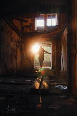 . (vivienschulte) Tags: light sunset shadow sun abandoned girl backlight photography warm silouhette lostplace