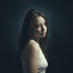 Holland light (lau_cleo) Tags: blue light portrait woman black beauty face studio paint natural longhair feelings