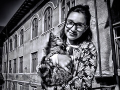 Look at me please ! (Constantin Florea) Tags: life street city girls portrait people urban blackandwhite bw cats monochrome face canon blackwhite outdoor candid streetphotography streetphoto capture