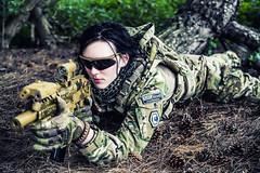Don't mess with my friends (mystero233) Tags: uk portrait woman girl forest nikon women gun military ak d750 crawling airsoft prone milsim