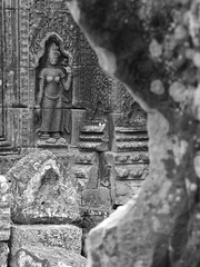 P1100263 (ian_harbour) Tags: bw sculpture monochrome temple cambodia carving relief angkor apsara