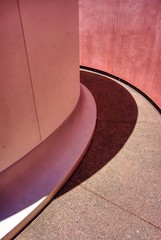 Shades of red (PeterThoeny) Tags: sanfrancisco california shadow red abstract art deyoungmuseum wall museum architecture circle lightsandshadows raw outdoor jamesturrell round deyoung minimalism curve hdr photomatix fav100 1xp threegems nex6 selp1650