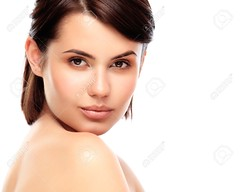 Beautiful Face of Young Woman with Clean Fresh Skin close up isolated on white. Beauty Portrait. Beautiful Spa Woman Smiling. Perfect Fresh Skin. Pure Beauty Model. Youth and Skin Care Concept (grafias.lindos) Tags: camera portrait woman brown white girl beautiful beauty face up fashion closeup female youth studio healthy model eyes perfect soft looking close view natural skin head background young posing front fresh clean clear health age attractive salon aged concept shoulders brunette care middle pure spa facial isolated cleansing skincare