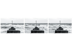 Groyne Triptyth (margaretsdad) Tags: bw white black cold beach water river grey coast scotland stand edinburgh waves post estuary portobello groyne dull midlothian d7100 triptyth scottbarron