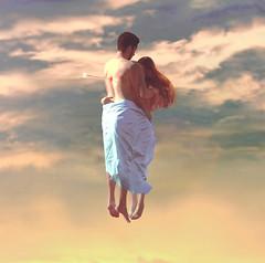 Krlek (Diogo Costta) Tags: blue boy sunset sky woman man art love yellow hair ginger couple emotion affection dusk fine floating valentine double romance valentines sheet vanilla emotional conceptual float namorados valentinesday diadosnamorados karlek