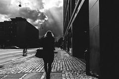 Walking into trouble (Jan Jespersen) Tags: street city urban blackandwhite bw backlight copenhagen denmark citylife streetphotography streetphoto kbenhavn urbanscenes urbanlife urbanscene platea everybodystreet janjespersenphotography plateastreetphotocollective