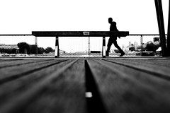 By looking at the Seine (pascalcolin1) Tags: bridge blackandwhite seine bench noiretblanc pedestrian pont banc streetview paris13 pieton photoderue urbanarte photopascalcolin