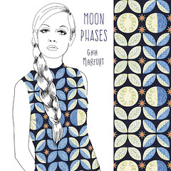 moonphasesdress (Gaia Marfurt) Tags: spoonflower twiggy sixties fashion fabric moon moonphase pattern artlicensing textiledesign homedecor interior woman girl