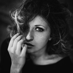 Silent prayer (la_cla25) Tags: light portrait blackandwhite italy girl beautiful beauty hair model eyes lips occhi freckles ritratto luce biancoenero capelli labbra lentiggini