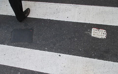 Two Fresh New Toynbee Tiles on 5th Ave 1372 (Brechtbug) Tags: street new york 2001 city nyc two white streets west up june st by corner dead idea bars theater cross traffic walk manhattan district under pedestrian pop fresh severino midtown made tiles ave planet ready commuter jupiter kubricks patch seventh avenue 5th toynbee named verna tar crumbling fifth sevy thirty possibly 37th reclusive 2016 resurrect philadelphian 06172016