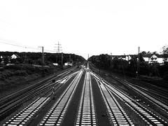 Railway to the white (yousufkurniawan) Tags: railroad blackandwhite white abstract monochrome train railway db line strip infrastructure railroadtrack paralel