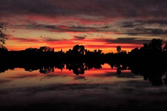 Red Twilight at Lake (moonjazz) Tags: california red summer sky orange lake nature weather night clouds rural nude landscape photography mirror twilight peace scenic twin calm double sensual solstice serenity sacramento fading wilton flckr reflrection moonjazz