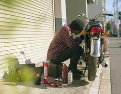 (shimobros) Tags: 120 film bike honda spring fuji pentax outdoor garage moto motorcycle custom 67 cb350 cb250 pn400