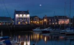 The Harbourmaster (windermere images) Tags: summer moon wales reflections fun boats lights evening coast harbour eating weekend drinking quay bluehour ceredigion aberaeron