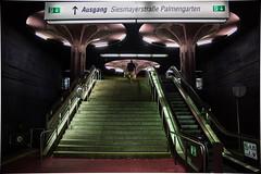 Underground traveller (marionrosengarten) Tags: underground dark nikon frankfurt metro subway ubahn stairs summe symmetry nacht nightshot night
