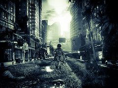 Future silence (www.fototips.lv) Tags: city bw photoshop soldier war outdoor apocalypse manipulation silence future