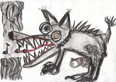 the singing dog (raumoberbayern) Tags: dog ink singing drawing woody sketchbook hund robbbilder malerei singen skizzenbuch explored